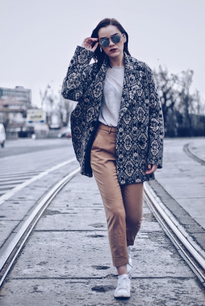 Camel Outfit and white leather sneakers; camel trousers by Andreea Birsan