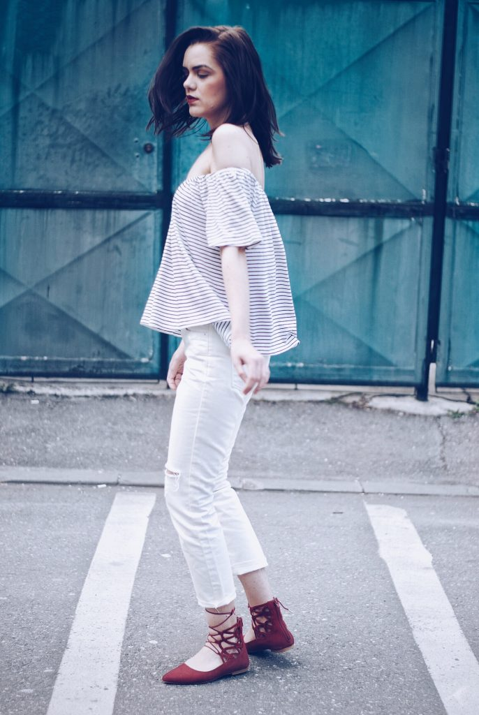 White look, Striped off shoulder top, white jeans & red lace up flats by Andreea Birsan