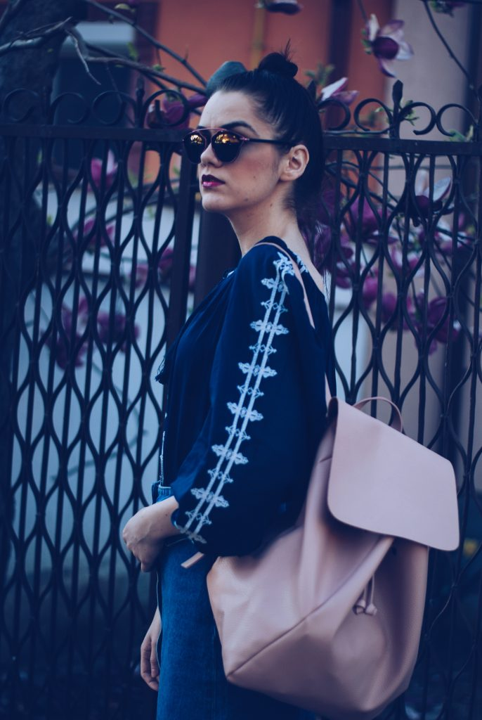 Midi denim skirt, embroidered shirt, backpack, soreal sunglasses by Andreea Birsan