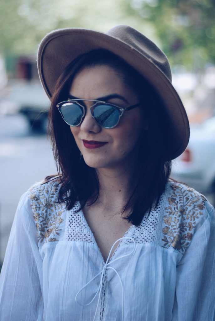 Camel hat, so real sunglasses, lace up blouse by Andreea Birsan