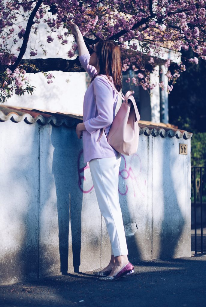 Glitter flats, white trousers, striped top, pastel blazer by Andreea Birsan