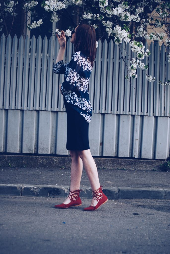 Pencil skirt, floral print blouse, red lace up flats, so real sunglasses by Andreea Birsan