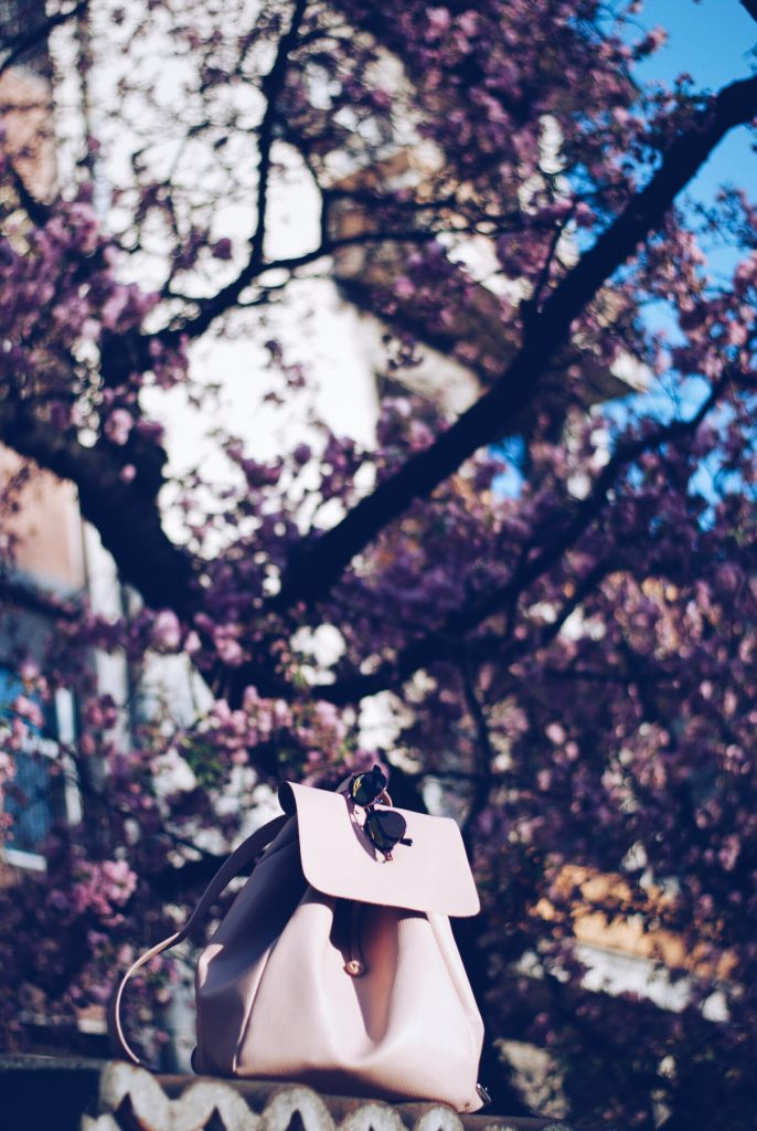 Pink backpack, Christian Dior So Real Sunglasses by Andreea Birsan