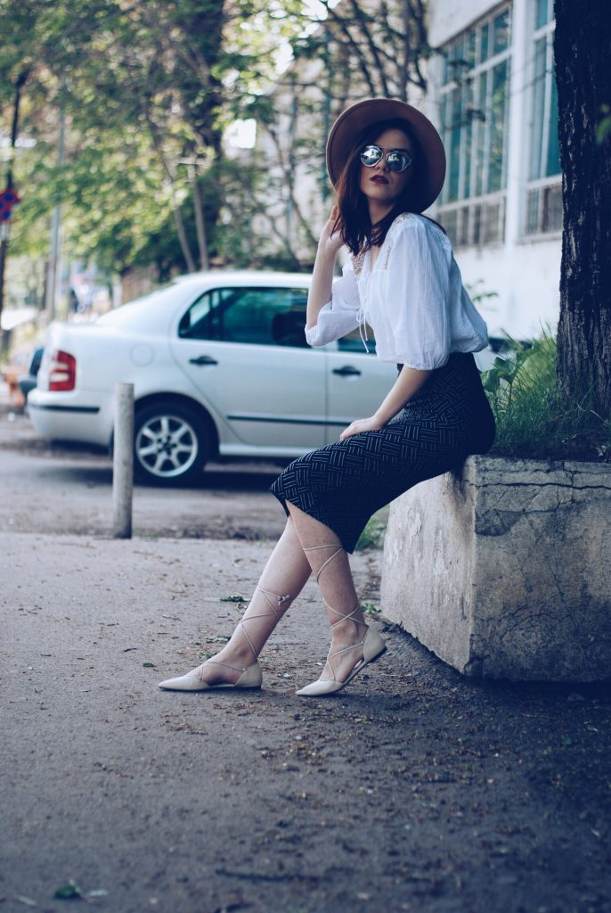 Camel hat, so real sunglasses, lace up blouse, printed pencil skirt, beige lace up flats by Andreea Birsan