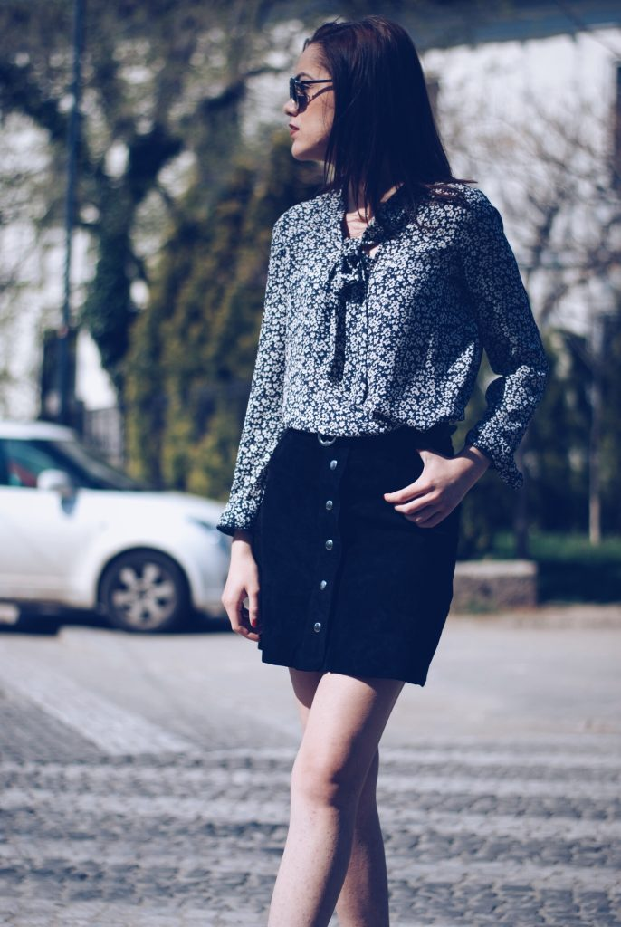Suede button front skirt, pussy bow blouse, white sneakers by Andreea Birsan