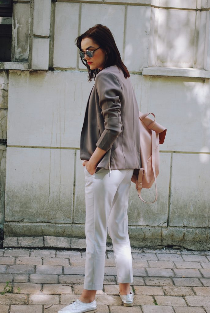 Grey trousers, white tshirt, lace detail, blazer, blush pink backpack, silver metallic shoes, so real sunglasses, spring outfit by Andreea Birsan