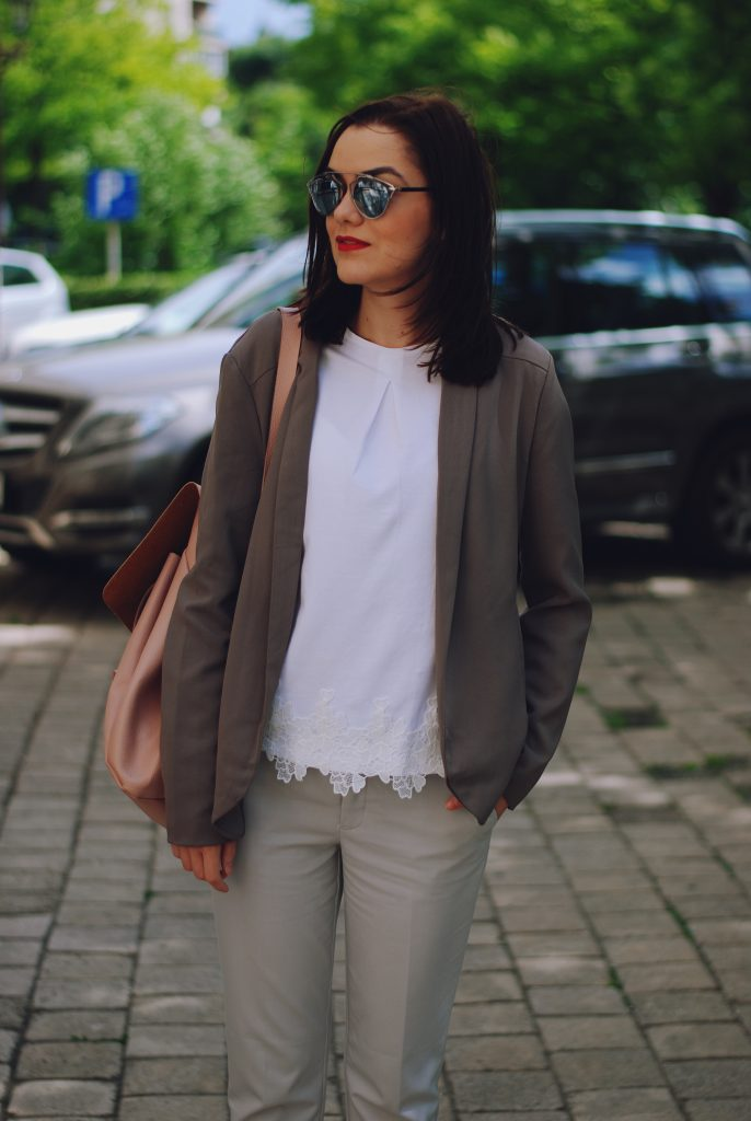Grey trousers, white tshirt, lace detail, blazer, blush pink backpack, so real sunglasses, spring outfit by Andreea Birsan