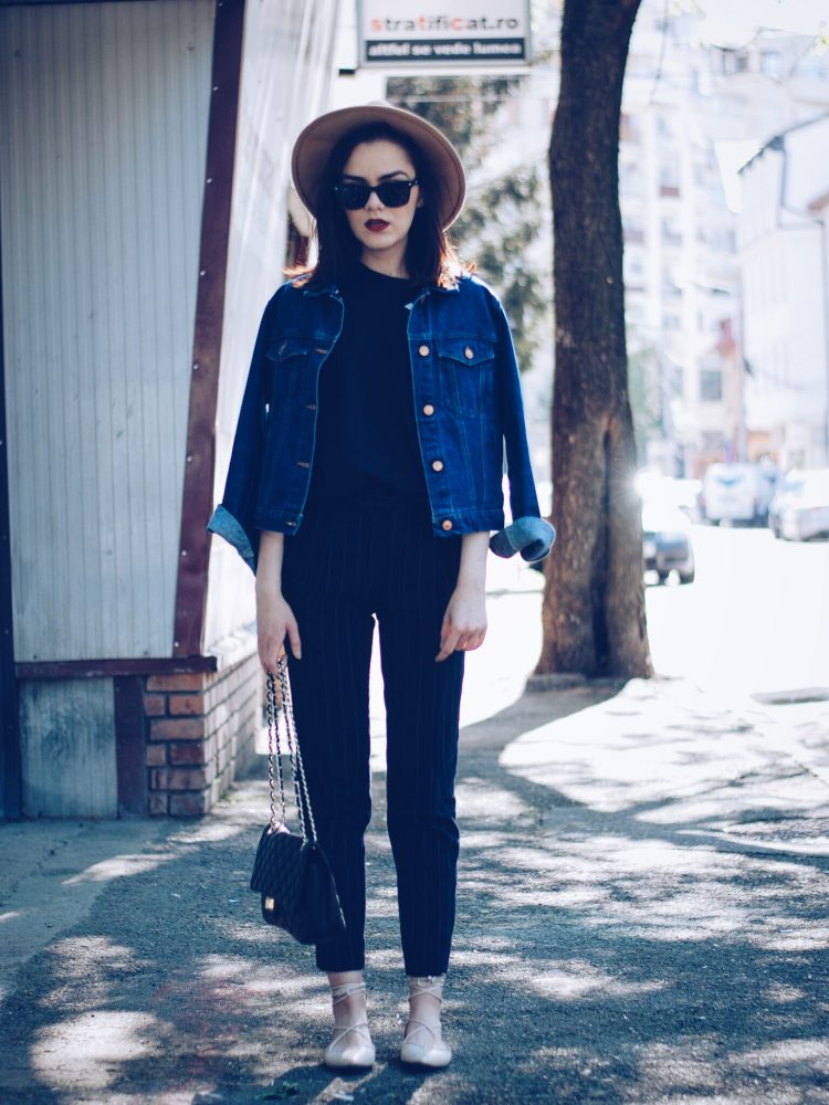Pinstripe pants, camel hat, black tshirt, denim jacket, sunglasses, beige lace up flats, spring outfit by Andreea Birsan