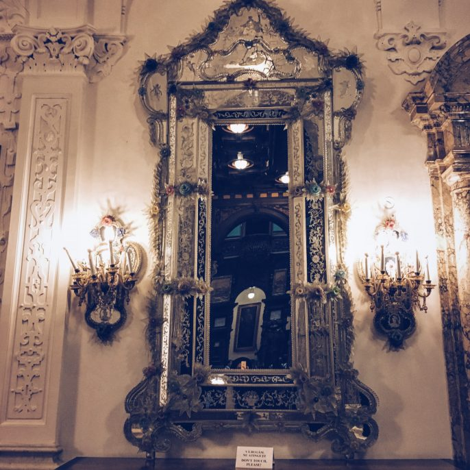 Printed pants post, mirror, design, peles castle, beautiful destinations, romania