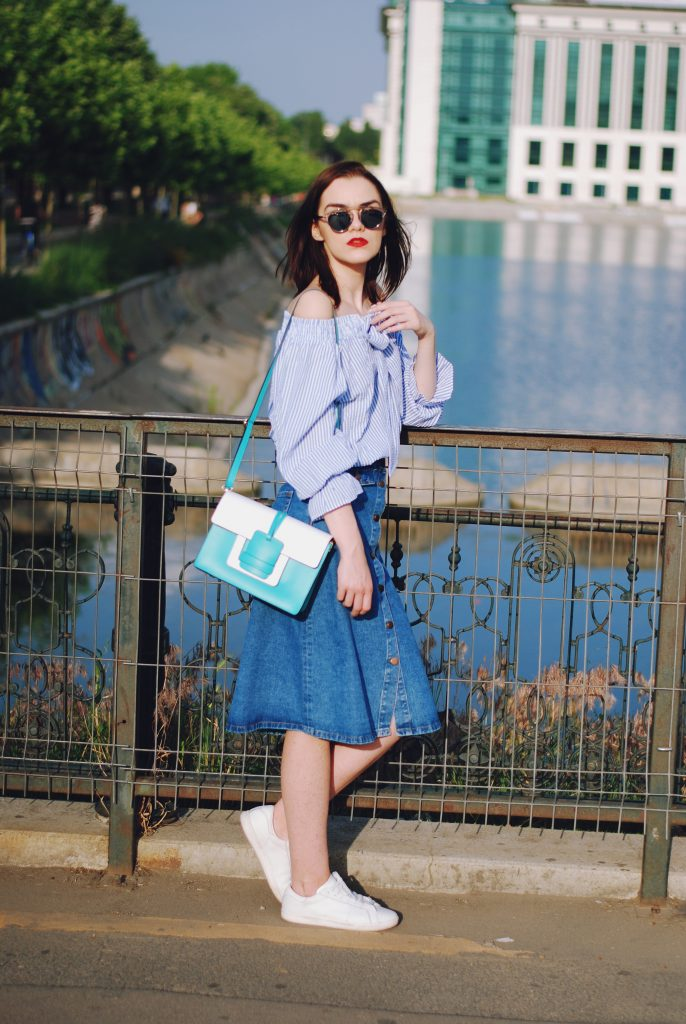 Striped off shoulder top, midi denim button front skirt, color block crossbody bag, white sneakers, so real sunglasses, summer outfit by Andreea Birsan.jpg
