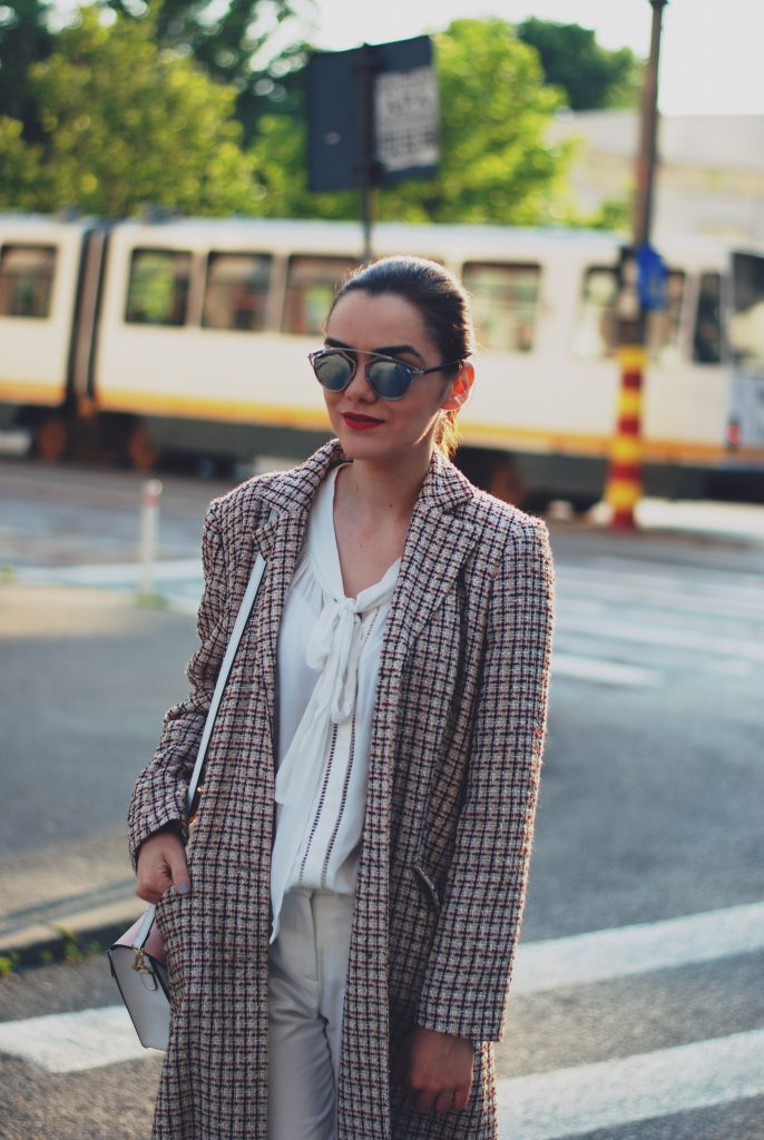 Tweed jacket, white pussy blouse, white trousers, white sneakers, color block crossbody bag, so real sunglasses, white outfit, spring outfit by Andreea Birsan