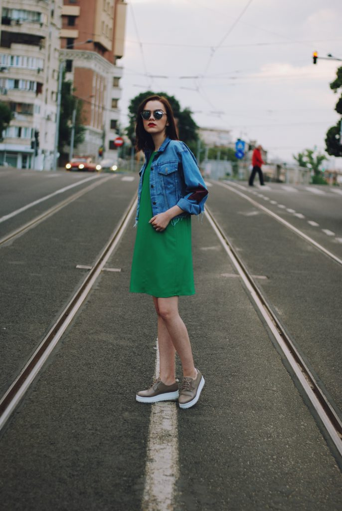 Green dress, star patches denim jacket, platform nude shoes, so real sunglasses, summer outfit, casual dress outfit by Andreea Birsan