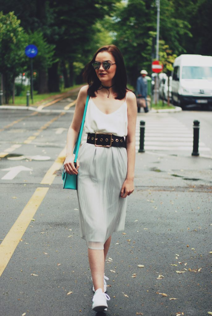 Grey pleated midi skirt, white camisole top, black belt, white sneakers, stan smith sneakers, color block crossbody bag, chocker, christian dior sunglasses, cute summer outfit by Andreea Birsan (15)