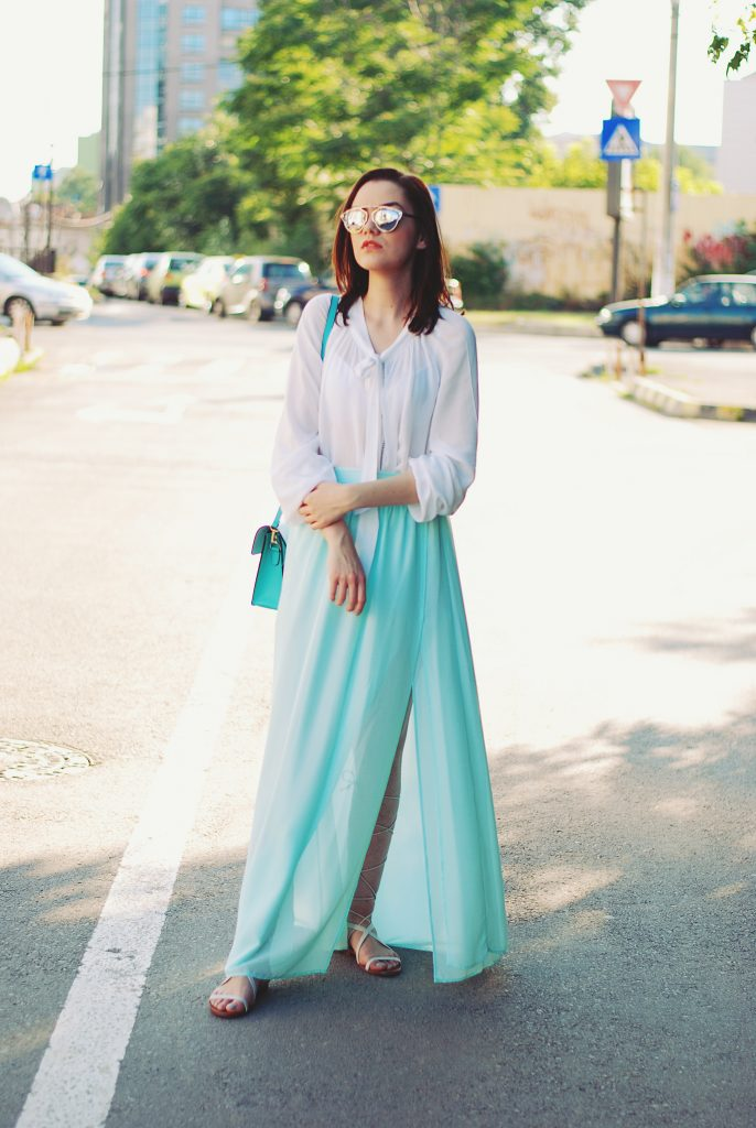 Mint maxi skirt, white pussy bow blouse, so real sunglasses, color block crossbody bag, lace up sandals, summer outfit, romantic outfit by Andreea