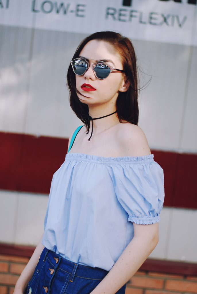 Patched denim skirt, denim button front skirt, patches, off shoulder top, christian dior sunglasses, white sneakers, stan smith sneakers, colorblock crossbody bag, cute summer outfit, Andreea Birsan