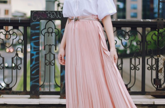 Pink maxi skirt, white embroidered lace up blouse, christian dior sunglasses, beige lace up flats, pink crossbody bag, cute summer romantic outfit, Andreea Birsan