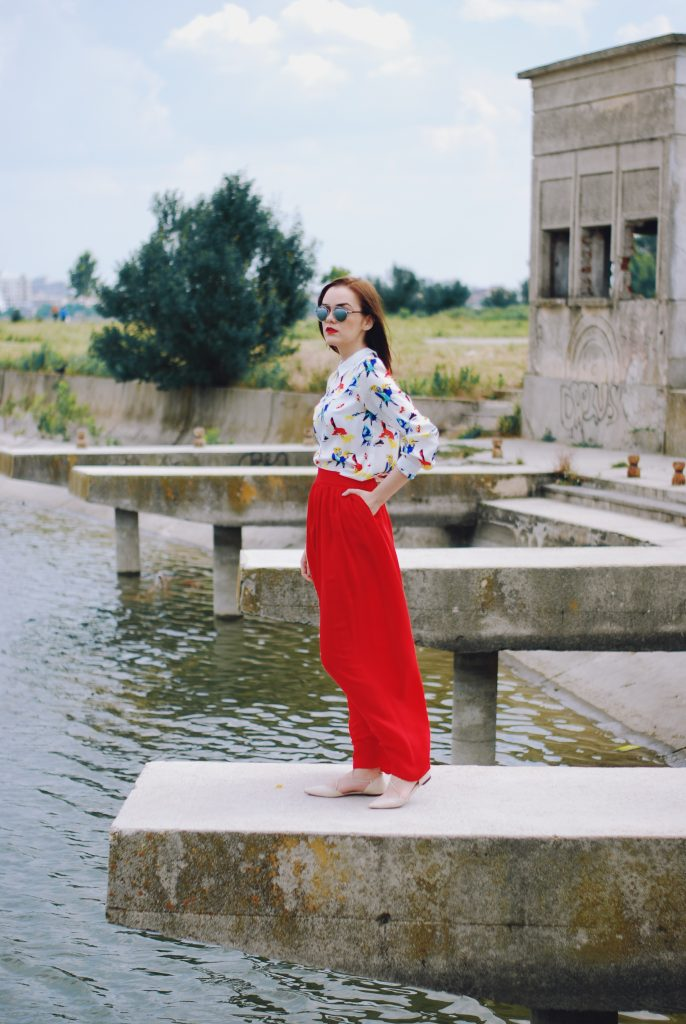 Red maxi skirt, print blouse, beige lace up flats, so real sunglasses, romantic outfit, summer outfit by Andreea Birsan