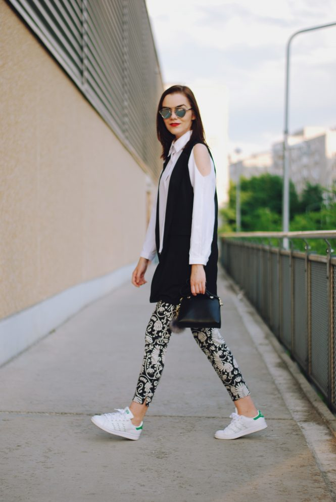 White button down shirt, black waistcoat vest, print trousers, adidas stan smith white sneakers, furla bag, pom pom, christian dior sunglasses, cute summer outfit, Andreea Birsan