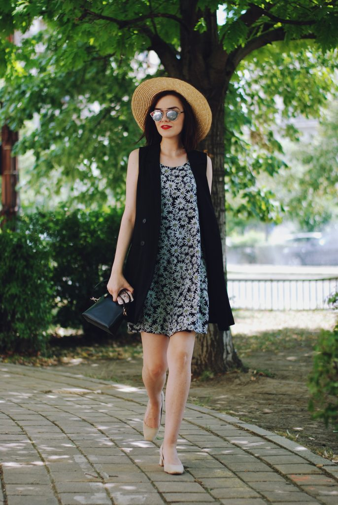 Beige suede pumps, floral print summer dress, black vest, straw hat, christian dior sunglasses, furla crossbody bag, cute summer outfit, Andreea Birsan