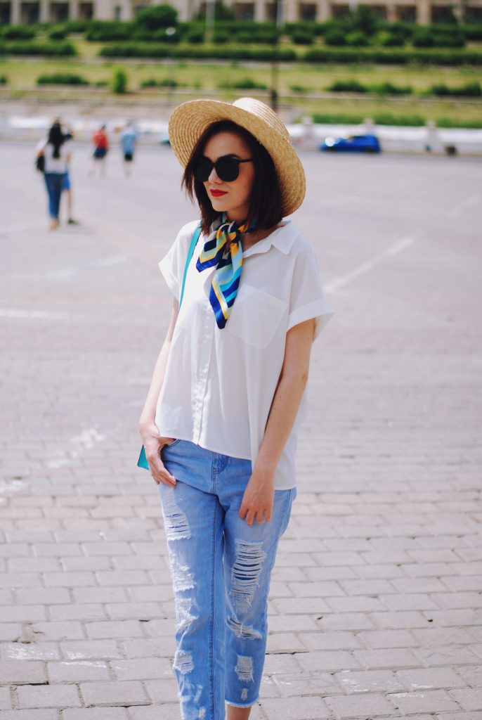 Distressed boyfriend jeans, straw hat, black sunglasses, white shirt, beige suede pumps, neck silky scarf, crossbody bag, cute summer outfit, Andreea Birsan