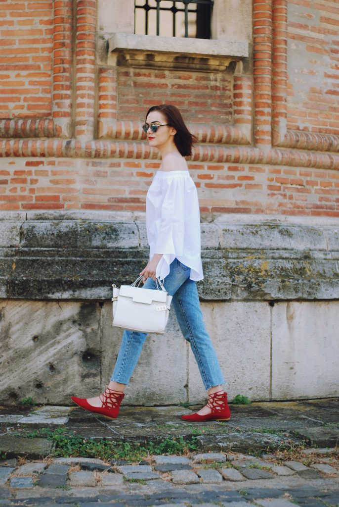 Mom jeans, dior sunglasses, white off shoulder top, red lace up flats, white crossbody bag, cute summer outfit, Andreea Birsan