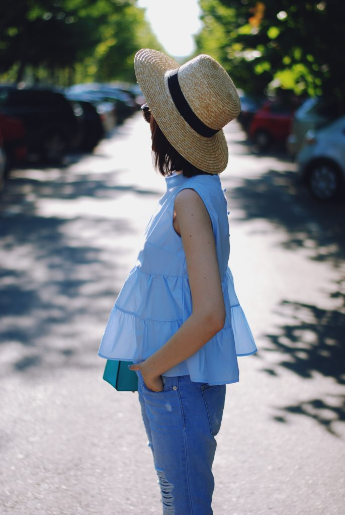 Straw hat, Christian Dior sunglasses, ruffle baby blue top blouse, distresses frayed hem boyfriend jeans, stan smith white sneakers, crossbody bag, cute summer outfit, Andreea Birsan