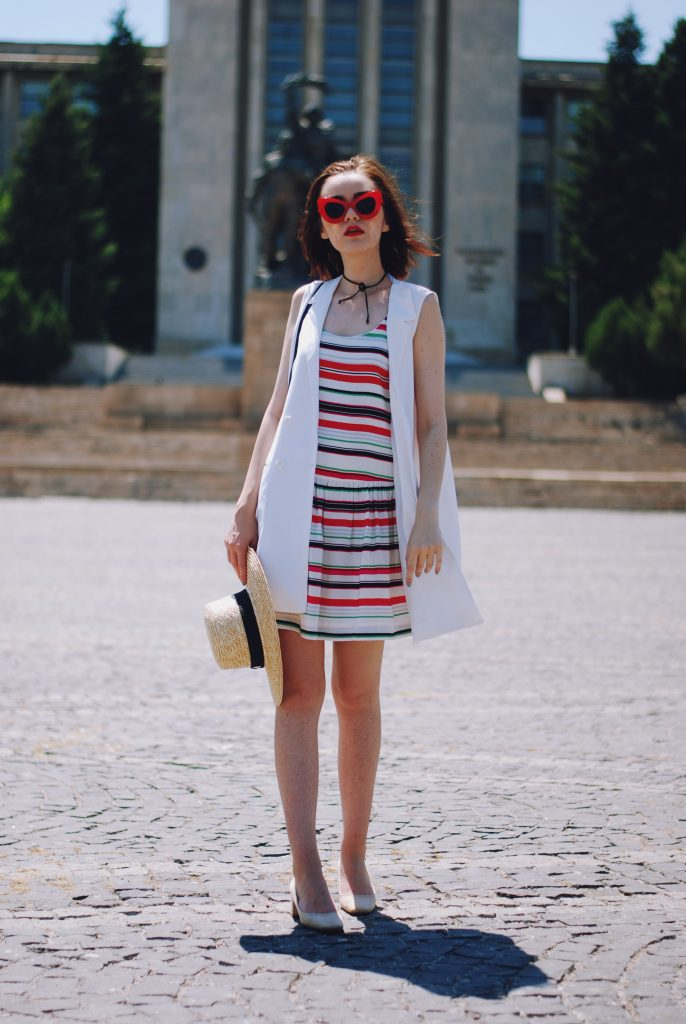 Straw hat, striped dress, white waistcoat vest, furla crossbody bag, beige suede pumps, red sunglasses, cute summer outfit, Andreea Birsan