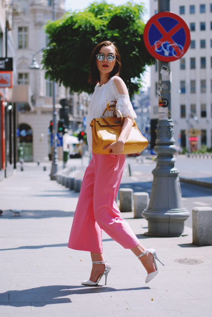 Christian Dior so real mirrored sunglasses, white crochet off shoulder top, hot pink palazzo pants, how to wear palazzo pants,  how to wear culottes, how to style pink pants, trousers, white high heels, white stiletto shoes, chic leather pumps, sandals, leather yellow hermes kelly bag, yellow tote bag, cute summer outfit ideas 2017 2016, chic outfit, casual work attire, how to look chic on a budget, Andreea Birsan, couturezilla, fashion trends, zara pants, mango, topshop, asos, short hair don't care, how to dress in summer, summer outfit inspiration, summer color combination, european fashion blogger, romanian fashion blogger, summer street style ootd, pinterest outfit, tumblr girls, fashion trends 2017