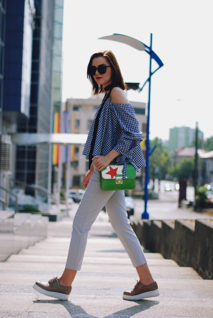 Gingham off shoulder top, black scarf, sunglasses, grey trousers, nude platform shoes, green crossbody bag, cute summer outfit, Andreea Birsan