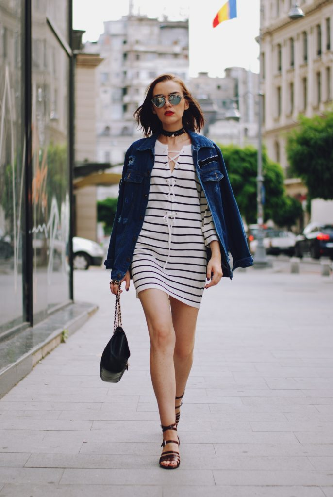 oversized denim jacket amp striped dress outfit � couturezilla