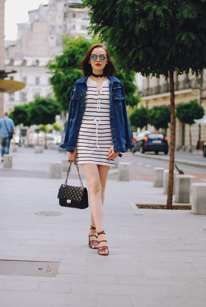 Patched oversized denim jacket, lace up striped dress, black crossbody bag, strappy sandals, chocker, dior sunglasses, cute summer outfit, Andreea Birsan