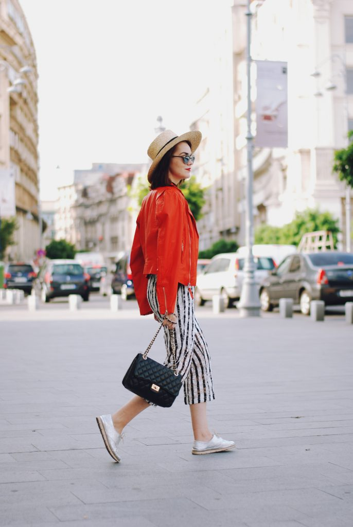 Striped jumpsuit, orange leather jacket, straw hat, chocker, crossbody bag, sunglasses, silver metallic shoes, belt, cute summer outfit, Andreea Birsan
