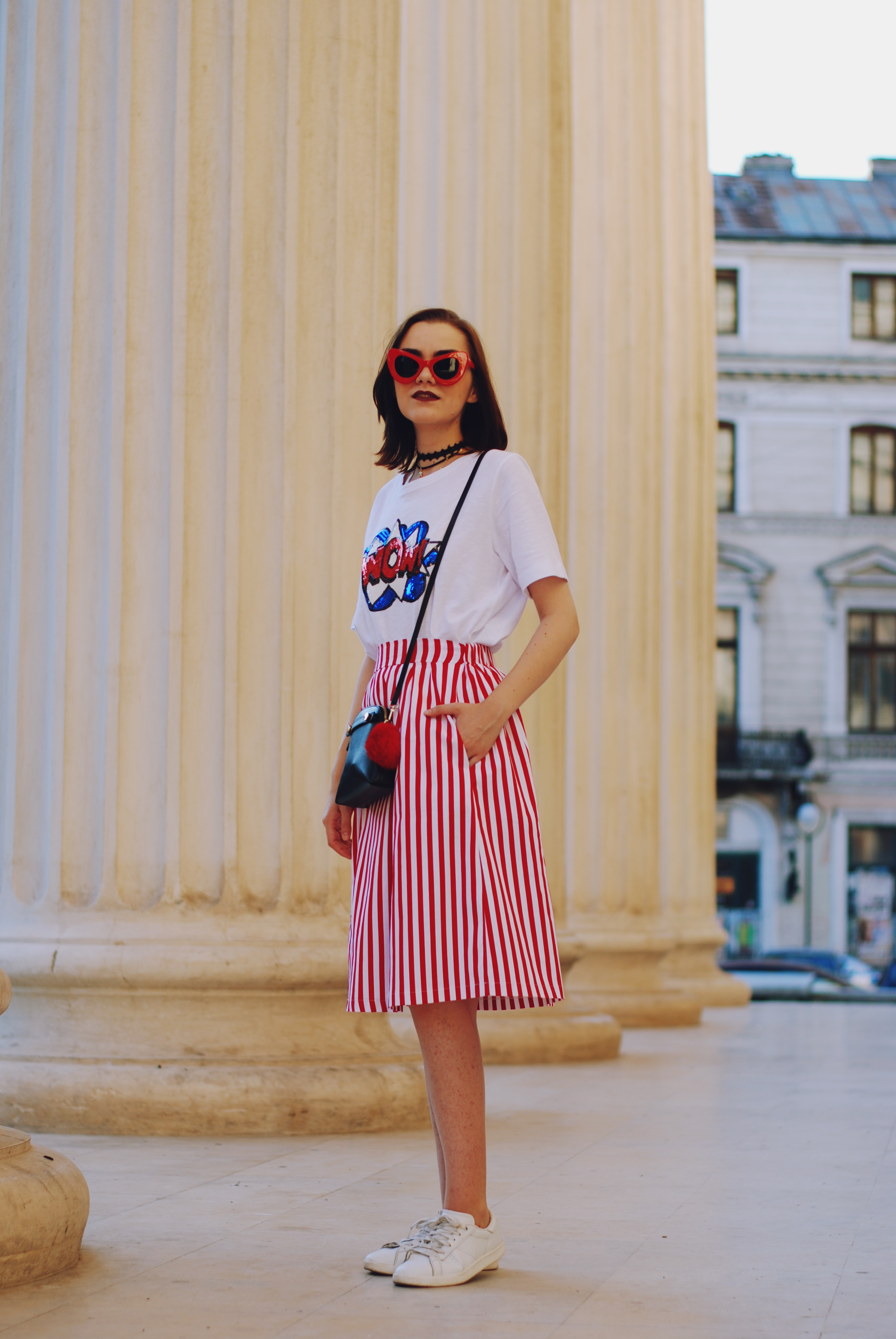 Striped midi skirt & white sneakers: Heat wave survival kit ...