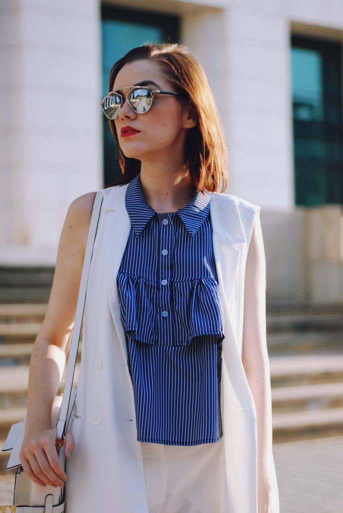 Striped ruffle top, white waistcoat vest, white trousers, white crossbody bag, pink sneakers shoes, dior sunglasses, cute summer outfit, Andreea Birsan