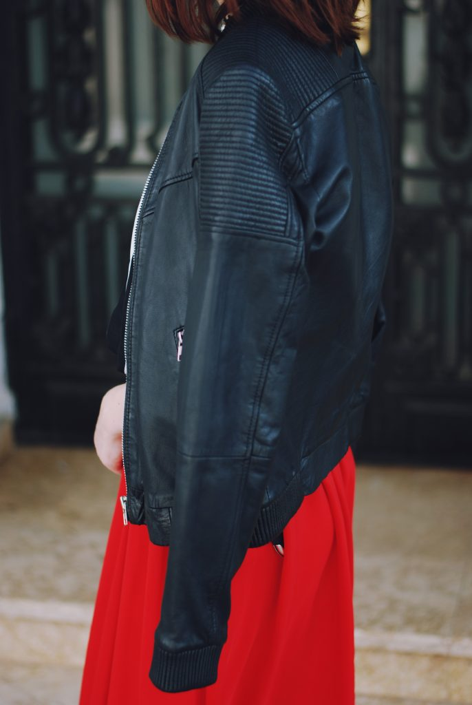 Leather Jacket Amp Red Maxi Skirt Transitional Essentials