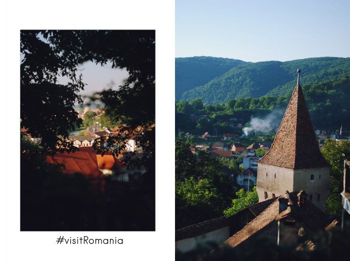 Visit Romania, visit sighisoara, beautiful destinations, travel to Romania, white off shoulder top post, Andreea Birsan