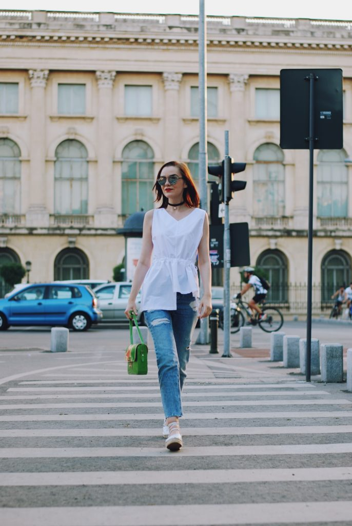 White assymetrical top, mom jeans, green crossbody bag, dior sunglasses, lace up white espadrilles, chocker, cute summer outfit, Andreea Birsan