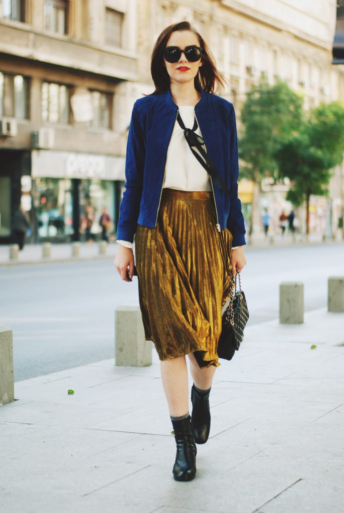 Blue suede jacket, ruffled top, gold metallic midi skirt, black crossbody bag, zara ankle boots, glitter socks, fall outfit idea, Andreea Birsan