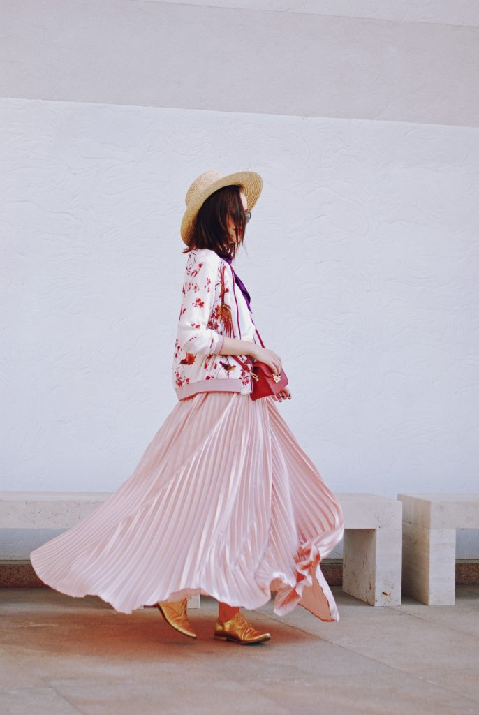 Bomber jacket, straw hat, scarf, red crossbody bag, dior sunglasses, pink maxi skirt, gold metallic shoes, white cami, pink fall outfit, Andreea Birsan