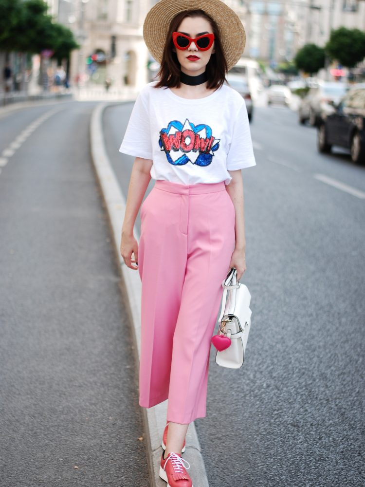 Pink palazzo pants, message tshirt, straw hat, red sunglasses, choker, pink shoes, white crossbody bag, cute fall outfit, Andreea Birsan