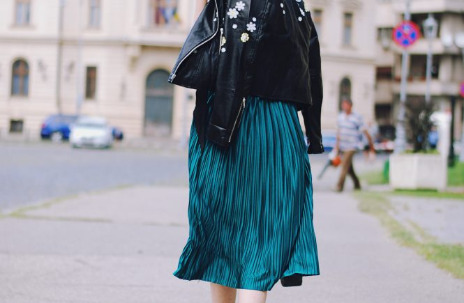 Pleated emerald green midi skirt, black cami, skinny scarf, embroidered leather jacket, gold metallic shoes, crossbody bag, fall outfit, Andreea Birsan
