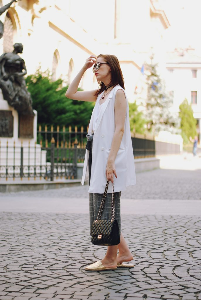 White waistcoat vest, grey culottes, white camis, dior sunglasses, black crossbody bag, choker, gold metallic mules, cute summer outfit, Andreea Birsan