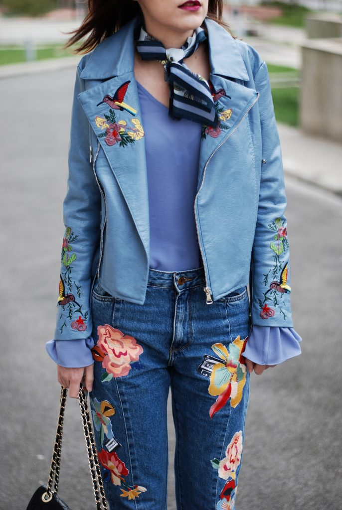 Embroidered jeans leather jacket fall outfit idea for