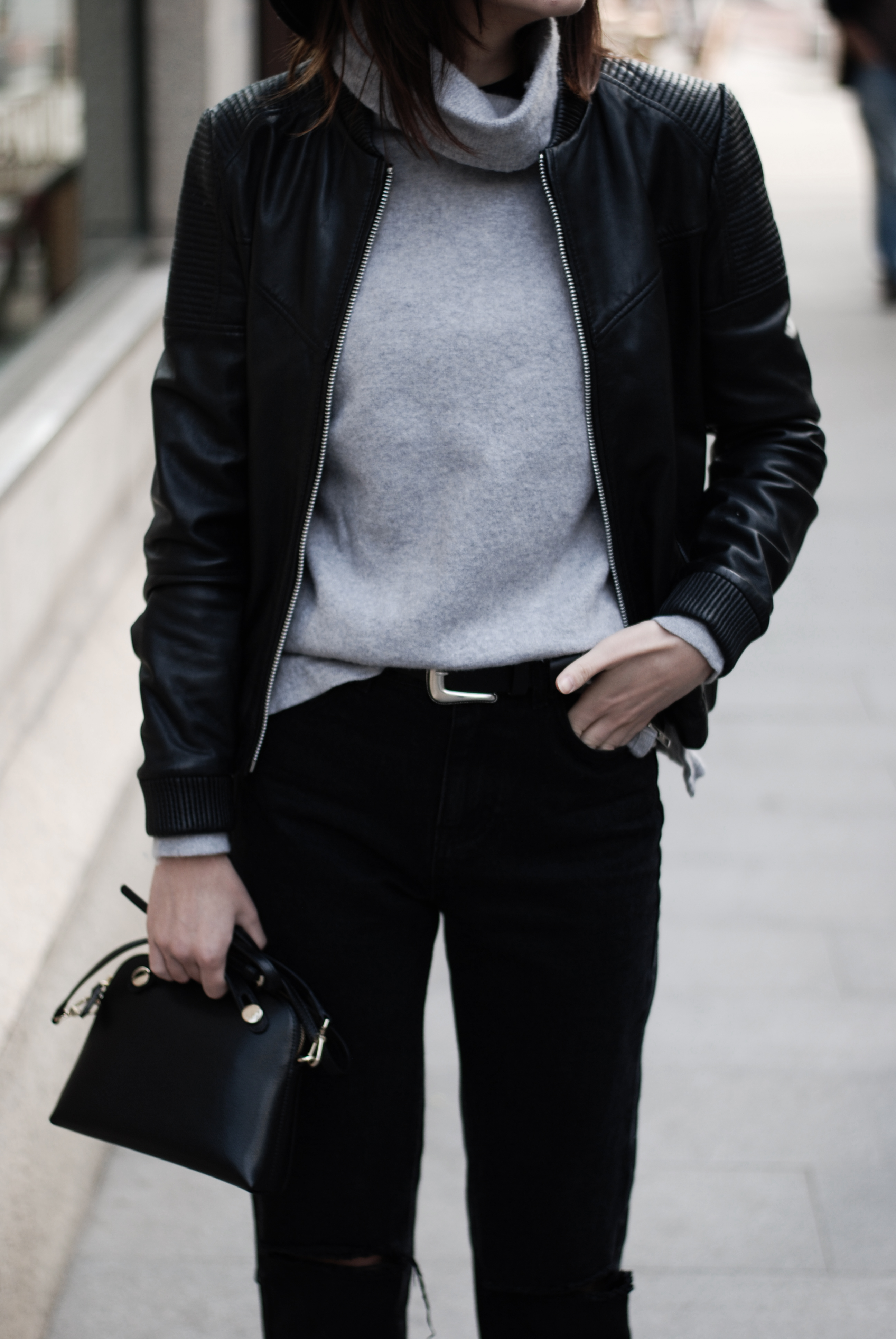 Leather jacket with sweater