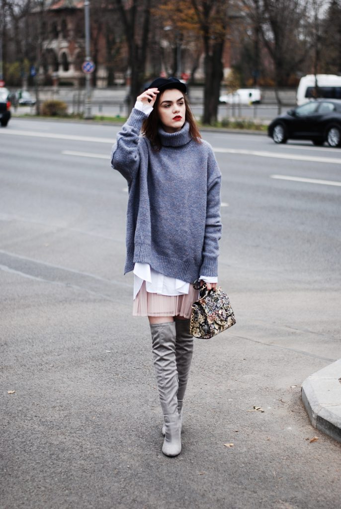 Grey over the knee boots, otk boots, chunky grey turtleneck sweater, pink pleated mini skirt, white button down shirt, zara marina cap hat, embroidered crossbody bag, chic cute casual fall outfit ideas 2016, andreea birsan, couturezilla, layering, how to wear over the knee boots