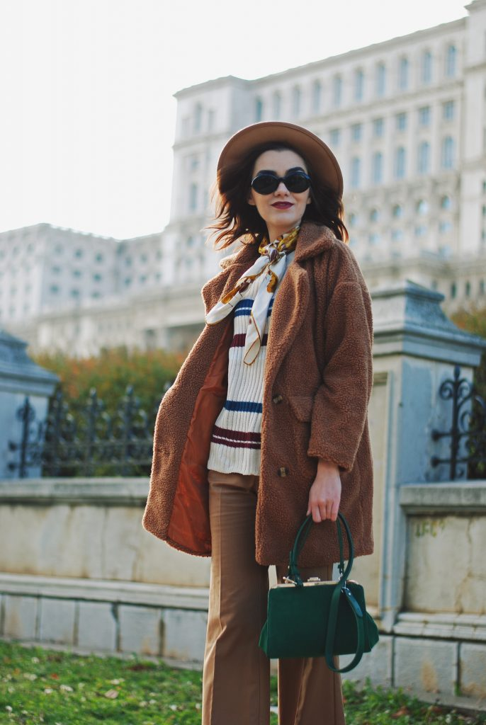 Brown teddy bear coat, faux fur coat, striped sweater, wide leg pants, trousers, flared pants, green suede crossbody bag zara, mango brown suede ankle boots, heeled ankle boots, camel fedora hat, chic, casual, cute fall outfit ideas 2016, winter outfits, how to wear a camel outfit, skinny scarf, vintage sunglasses, how to wear a teddy coat, how to wear wide leg pants, camel outfit, brown outfit, pinterest outfit, andreea birsan, couturezilla
