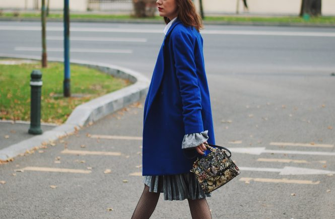 Zara navy marina cap, hat, grey bell sleeve sweater, mango blue coat, white button down shirt, silver metallic pleated midi skirt, zara leather ankle boots, fishnet tights, glitter socks, embroidered crossbody bag, miumiu lookalike bag, embroidery, how to wear a midi skirt, casual, chic, cute fall outfit ideas 2016, winter outfit, ootd, andreea birsan, couturezilla, winter coats