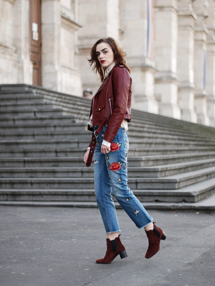 Flared embroidered jeans, how to mix prints, floral embroidered top, white turtleneck sweater, burgundy leather jacket, pu jacket, motto jacket, how to wear flared embroidered jeans, burgundy suede ankle boots, fall outfit ideas 2016, cute fall outfit, casual winter outfit ideas, budget outfit ideas, andreea birsan, couturezilla, zara, mango