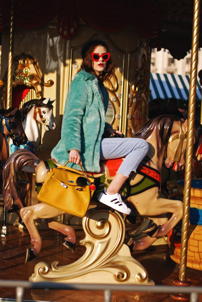 Mint faux fur coat, light was step hem jeans, burger graphic tee, printed t-shirt, bag pom pom charms, yellow hermes kelly bag, adidas superstar white sneakers, zara newsboy cap, mango, red sunglasses, andreea birsan, couturezilla, pastel outfit, casual zara outfit, chic fall outfit, cute winter outfit ideas 2016, the power of accessories, frayed hem jeans, how to wear a faux fur coat, red retro sunglasses, how to wear adidas white sneakers, outfit color combination, european fashion blog, romanian fashion blogger, winter street style