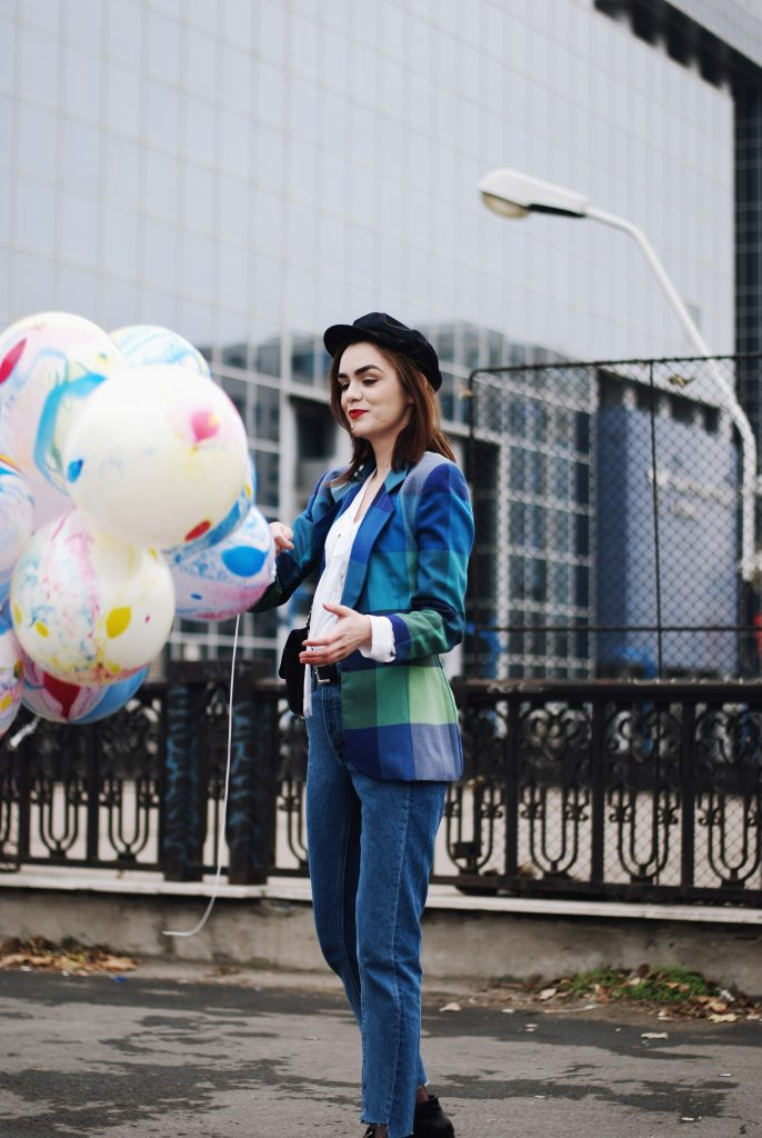 birthday outfit, Printed blazer, vintage patchwork colorful blazer, pussy bow blouse, mango white tie neck blouse, vetements lookalike jeans, hm reworked step hem jeans, patent lace up ankle boots, chanel quilted leather crossbody bag, zara navy newsboy cap, andreea birsan, couturezilla, winter outfit, what to wear on your birthday, birthday girl, fall outfit idea, casual outfit ideas, chic outfit ideas, european fashion blogger, how to wear fishnet tights, romanian fashion blogger, red lipstick, fashion blog, jeans and blazer outfit, how to dress for the cold weather, marble balloons